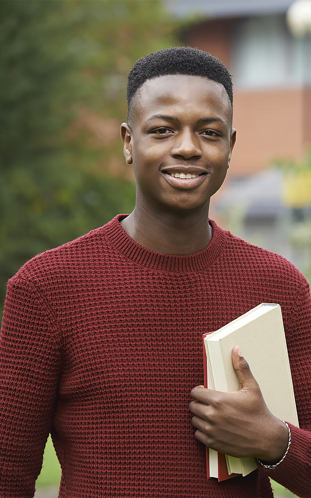 yorkshire college planning proud male college student